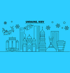 ukraine kiev winter holidays skyline merry vector image
