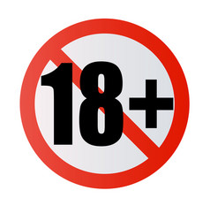 under 18 years prohibition sign adults only vector image