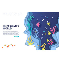 underwater world website landing page vector image