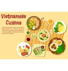 Vietnamese family dinner served on floor flat icon vector