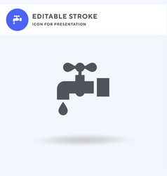 water tap icon filled flat sign solid vector image