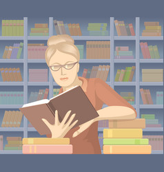 Woman with books vector
