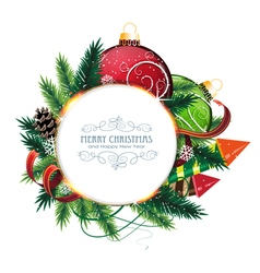 Christmas card with baubles vector image vector image