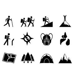 hiking icons vector image