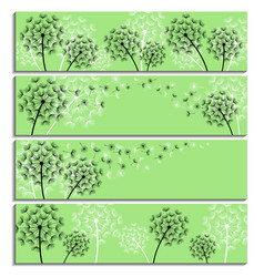 set of horizontal green banner with dandelion vector image vector image