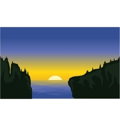 Silhouette of cliff in the sea vector image vector image