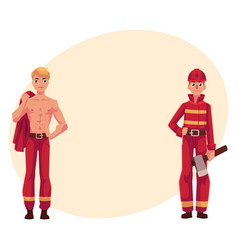 two firefighters firemen one at work another vector image vector image