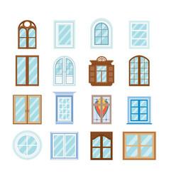 wood window frames architecture design outdoor vector image vector image