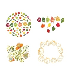 Autumn leaves set on white background vector image vector image