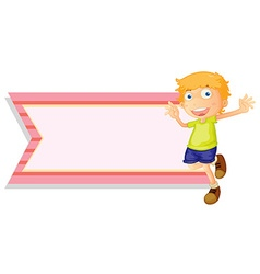 Banner template with happy boy vector image vector image