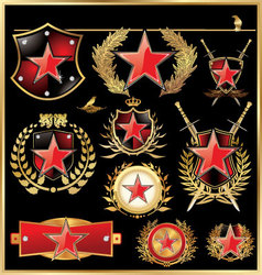 shield concept with red star vector image vector image