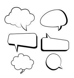 Bubbles text boxes comic set with isolated white vector