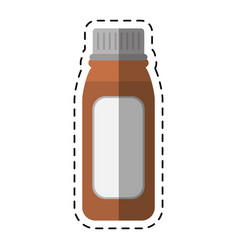 cartoon bottle medicine healhy care icon vector image