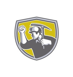 Coal Miner Clenched Fist Pick Axe Shield Retro vector image