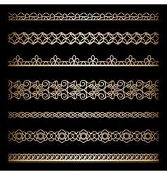 Gold borders set vector image