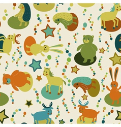 Seamless pattern with cartoon forest animals vector image