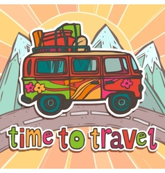 Travel poster with bus vector image