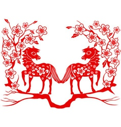 two red horse for Chinese new year vector image vector image