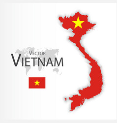vietnam flag and map vector image vector image