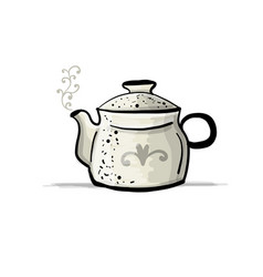 ceramic teapot sketch for your design vector image