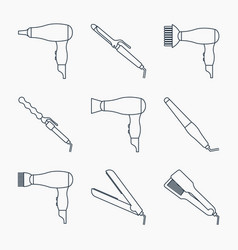 hair styling accessories icon set vector image vector image