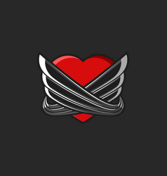 heart with wings logo tattoo mockup on black vector image