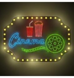 Neon Colorful Cinema Retro Billboard vector image vector image