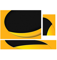 abstract black and yellow tech design set vector image