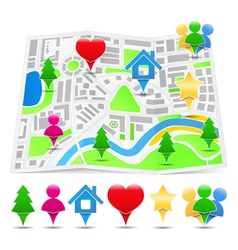 Abstract map with map markers vector image