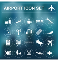Airport air travel icon set vector image vector image