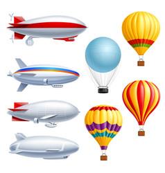 Airship realistic icon set vector