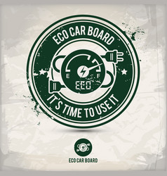 alternative eco car board stamp vector image
