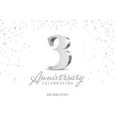 anniversary 3 silver 3d numbers vector image