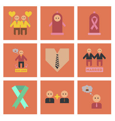 Assembly flat icons gay relationships vector