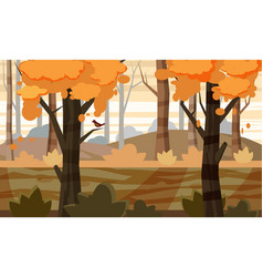 Autumn landscape trees and fall leaves vector