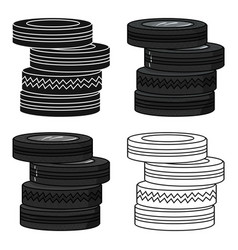 barricade from tires icon in cartoon style vector image