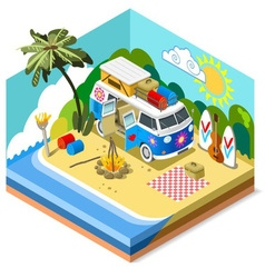 Beach life icon 3d isometric vector
