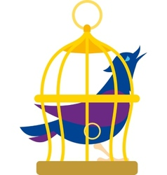 Bird in cage vector