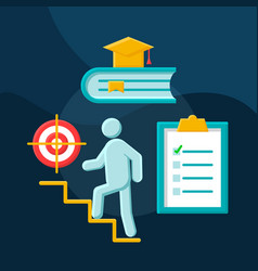 Career ladder flat concept icon vector