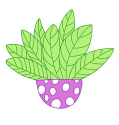 Cartoon colored plant with big leaves circle vector