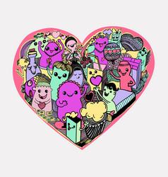 cartoon hearts pattern hand-drawn kawaii monsters vector image