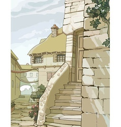 cartoon street with old houses made of stone vector image