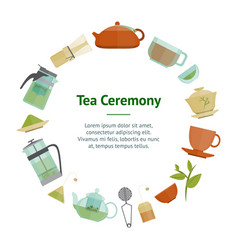 cartoon tea ceremony banner card circle vector image