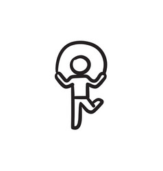 Child jumping rope sketch icon vector