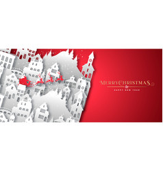 Christmas new year snow paper cut village city vector