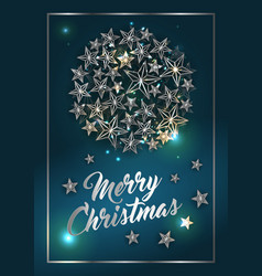 christmas poster or card template with star ball vector image