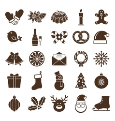 Christmas silhouettes icons vector