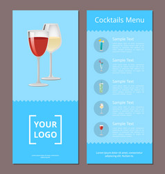 cocktails menu advertisement poster design alcohol vector image