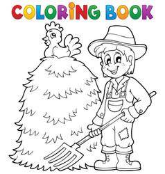 coloring book farmer theme 1 vector image