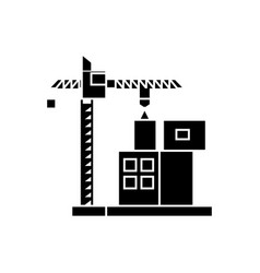 construction crane building black icon concept vector image